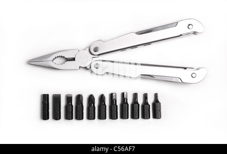 Metal, steel pliers and a screwdriver with a hexagon on a white background - Stock Photo