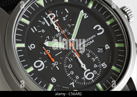 Close up of a Men's chronograph wrist watch - Stock Photo