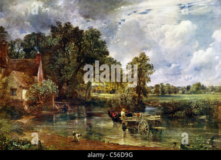 English painter John Constable (1776-1837) completed The Hay-Wain in 1821. It shows a haywain in Suffolk. - Stock Photo