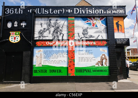 Mural in East Belfast commemorating the 36th Ulster Division, formed from the Ulster Volunteer Force in 1914 - Stock Photo