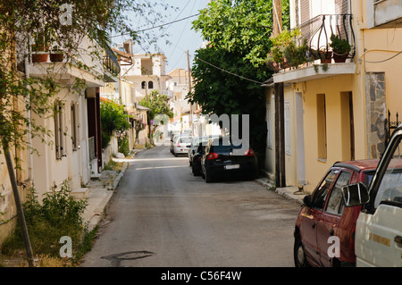 Street in the Greek town of Zakynthos - Stock Photo