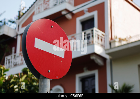 No entry sign in a Greek town - Stock Photo