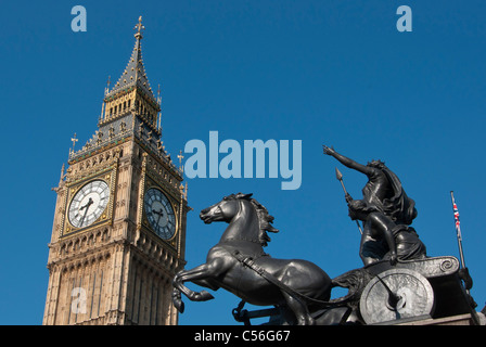 The Clock Tower Big Ben with statue of Queen Boadicea on horse drawn chariot at Westminster Pier London UK - Stock Photo