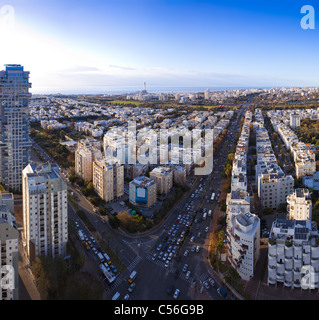 Tel Aviv skyline at sunset / Aerial view of Tel Aviv - Stock Photo