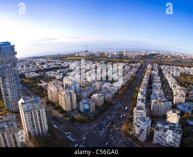 Tel Aviv skyline at sunset / Aerial view of Tel Aviv - Stock Photo