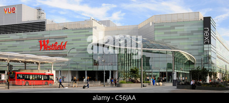 Westfield shopping centre and part of adjoining 'White City' bus station - Stock Photo