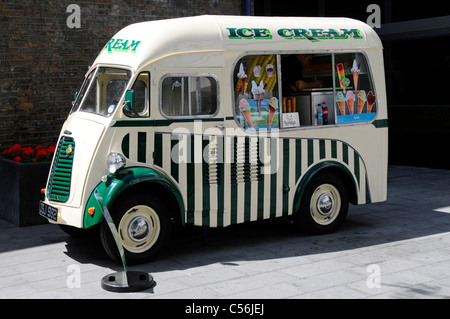 Summer in London Morris Commercial van converted to ice cream business parked outside Royal Festival Hall Southbank - Stock Photo