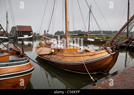 The Netherlands, Enkhuizen. Museum called Zuiderzeemuseum. Boats on display - Stock Photo