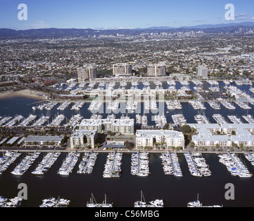 MARINA DEL REY (aerial view). Unincorporated city in the county of Los Angeles, California, USA. - Stock Photo