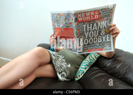 UK, Last ever publication of News of the World newspaper which is closing after 168 years - Stock Photo