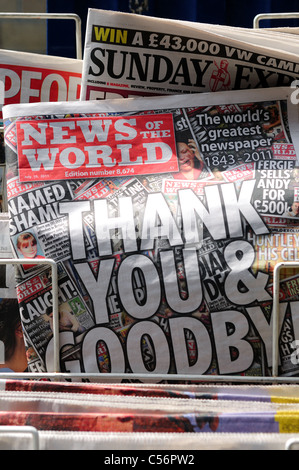 News of the World Sunday Newspaper Last Edition July 10 2011 Number 8,674. - Stock Photo