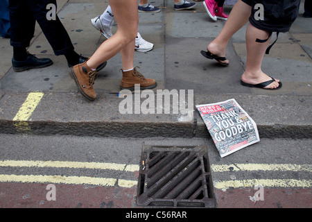 The last ever copy of tabliod newspaper News of The World. Sunday 10th July 2011 saw the end for this most famous - Stock Photo