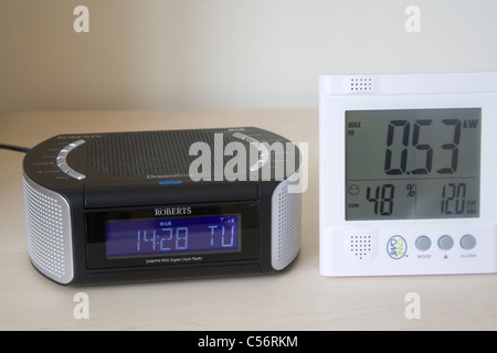 Close up Owl electricity power monitor by a DAB digital radio alarm clock - Stock Photo