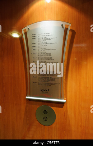 Info about all decks on the Queen Mary 2 on a contemporary glass plaque on Deck 8 by the passengers lifts. - Stock Photo