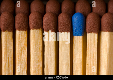 Extreme close-up of brown-tipped safety matches with one blue-tipped match standing out. - Stock Photo
