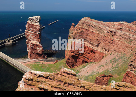 bird rock with landmark 'Lange Anna' ('High Anna') on island Heligoland; Heligoland - Stock Photo