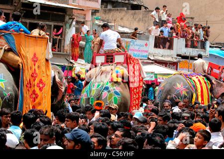 Rath yatra procession in Ahmedabad,Gujarat,india - Stock Photo