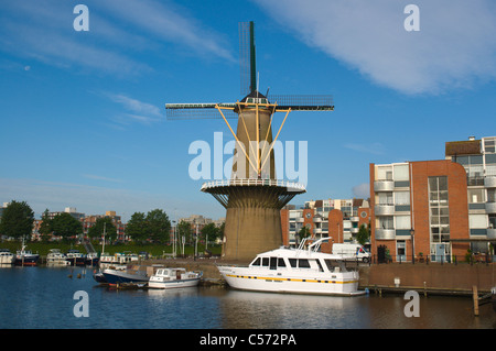 Voorhaven canal Delfshaven district Rotterdam the province of South Holland the Netherlands Europe - Stock Photo