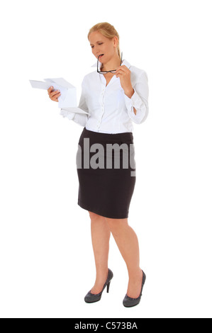 Attractive woman getting bad news. All on white background. - Stock Photo