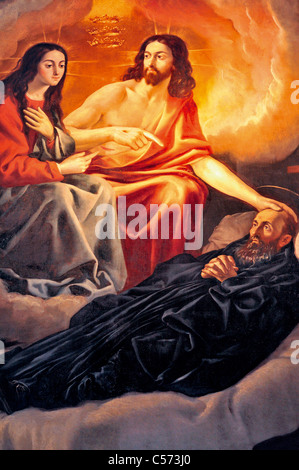 Spain, La Rioja: Painting showing Jesus Christ with San Millán in the church of Monasterio de Yuso in San Millan - Stock Photo