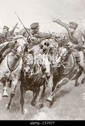 Mounted combat between Russian cossacks and German cavalry known as the Hussars of Death en Schwansfeld - Stock Photo