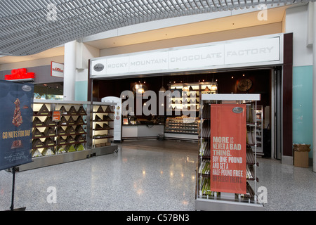 rocky mountain chocolate factory shop in departure lounge of Toronto Pearson International Airport Ontario Canada - Stock Photo