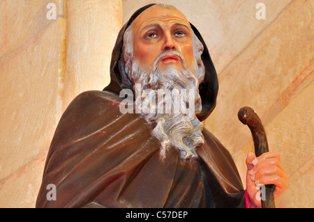 Spain, St. James Way: Detail of a statue of Santo Domingo de la Calzada in the monastery of San Juan de Ortega - Stock Photo