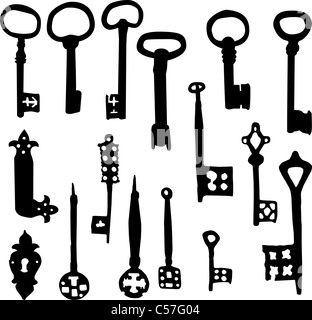 Set of old fashioned skeleton key vector silhouettes - Stock Photo