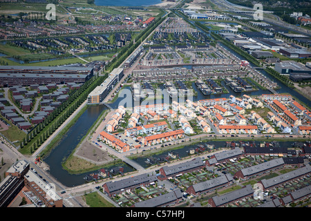 The Netherlands, Utrecht, Modern residential house construction. Aerial. - Stock Photo