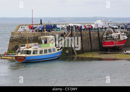 Ferry 'Duchess of Cornwall' moored to take on passengers at low tide, St. Mawes harbour. - Stock Photo