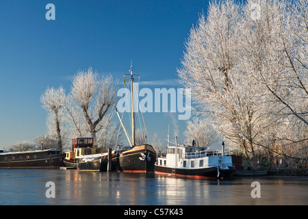 The Netherlands, Nigtevecht, Boats in river called Vecht. Winter, frost. - Stock Photo