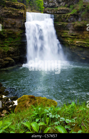 If there makes a mess you Doubs, Switzerland, Europe, canton Neuenburg, Neuenburg Jura, river, flow, Doubs, waterfall, - Stock Photo