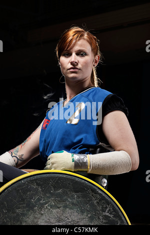 Para rugby player in wheelchair - Stock Photo