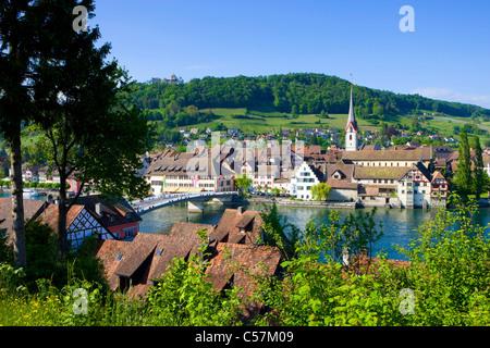 Stein am Rhein, Switzerland, Europe, canton Schaffhausen, provincial town, Old Town, Middle Ages, river, flow, Rhine, - Stock Photo