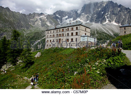 the french alps above the grand hotel montenvers near mer de glace stock photo royalty free. Black Bedroom Furniture Sets. Home Design Ideas