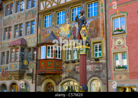 Stein am Rhein, Switzerland, Europe, canton Schaffhausen, provincial town, Old Town, Middle Ages, houses, homes, - Stock Photo