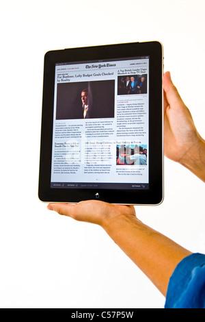 Ipad, The New York Times - Stock Photo