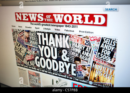 The website of the British tabloid, the News of the World last issue on July 10, 2011 - Stock Photo