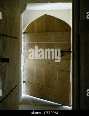 Mount Grace Priory, North Yorkshire, England. Door to a reconstruction of a monk's cell. - Stock Photo