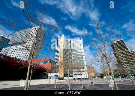 View of modern Skyscrapers in the Diagonal Mar of Barcelona, Spain - Stock Photo