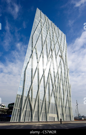 View of a modern building (Telefonica Headquarters) in the Diagonal mar district, Barcelona,Spain - Stock Photo