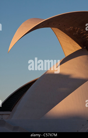 The Auditorium in Santa Cruz de Tenerife, Designed by Santiago Calatrava, catching the last rays of the setting - Stock Photo