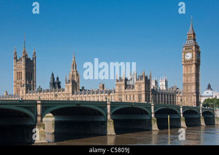 Westminster bridge over the river Thames with the Houses of Parliament. London - Stock Photo