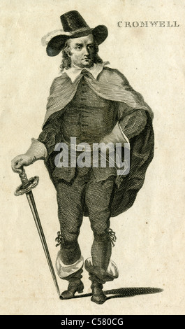 Early 1800s engraving of Oliver Cromwell. - Stock Photo