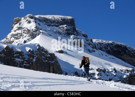 Alps, alpine, alpinisme, mountaineering, mountains, Bernese Oberland, Engstlenalp, ski, ski tour, woman, snow, winter, - Stock Photo