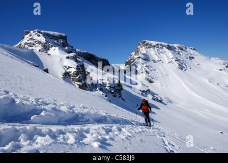 Alps, alpine, alpinisme, mountains, snow, ski, ski tour, winter, woman, footbridge horn, Wildstrubel, Bernese Oberland, - Stock Photo