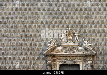 Naples. Palazzo Sanseverino, Chiesa del Gesu Nuovo, , rusticated facade and broken pediment - Stock Photo