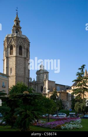 Valencia Cathedral and Plaza de la Reina, Valencia. - Stock Photo