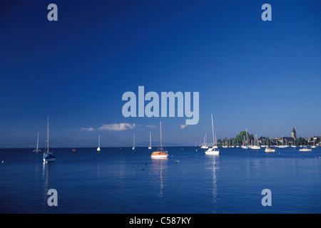 Vaud, harbour, port, scenery, ship, ships, ship, Morges, Switzerland, Europe, lake, Lac Léman, lake Geneva, blue, - Stock Photo