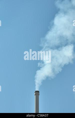 Smoking chimney, chimney, smoke, waste gas, environment, Germany, Europe - Stock Photo